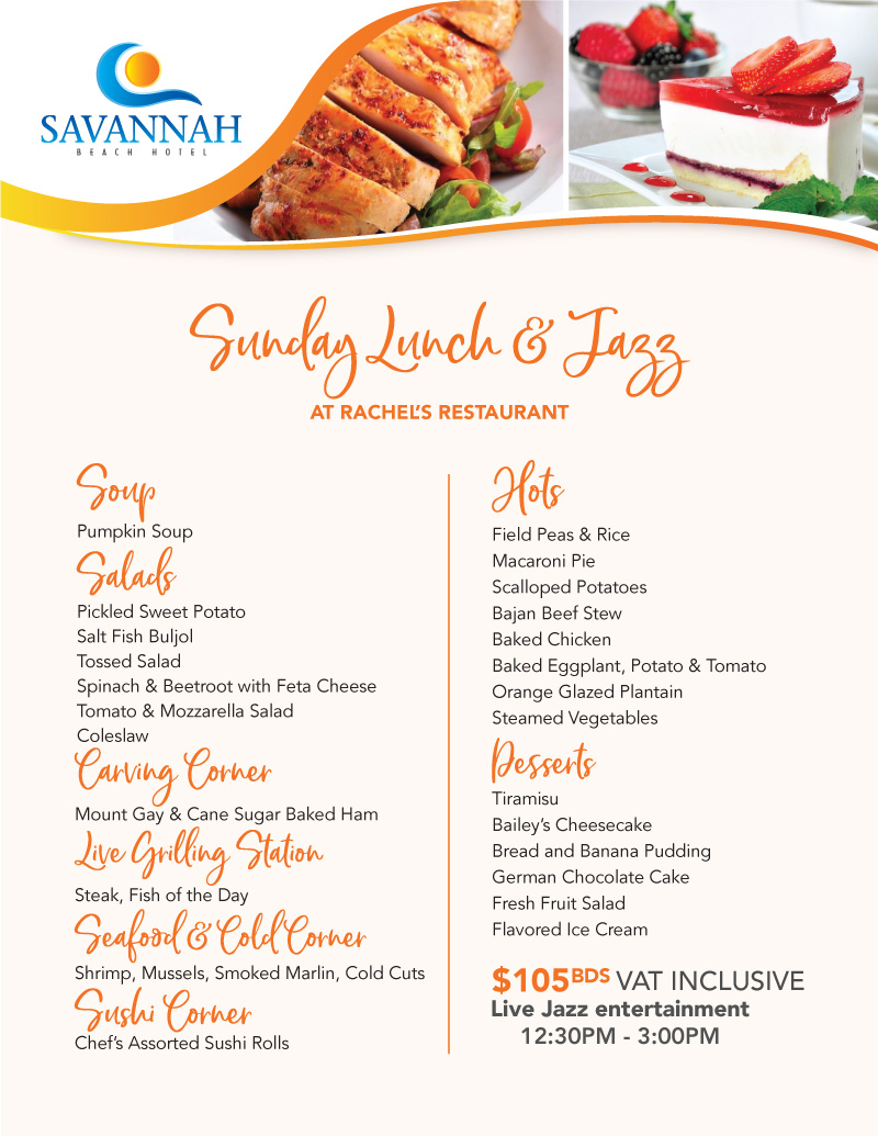 2019 SAV SUNDAY LUNCH MENU